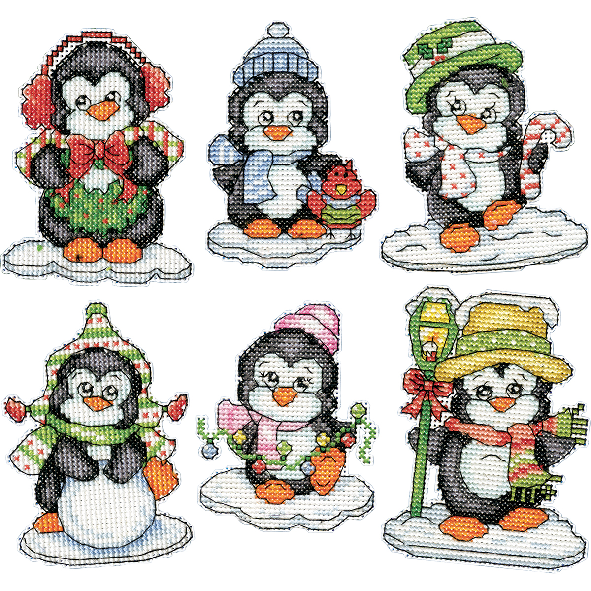 "Penguins On Ice Ornaments Counted Cross Stitch Kit, 3.5"", 14-Count, Set of 6"
