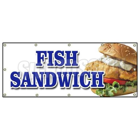 48 x120 fish sandwich banner sign haddock cod fresh deep for Cod fish walmart