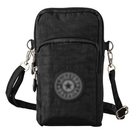 08ffbdfe25c5 Cell Phone Bag, EEEKit Multifunctional Mini Zipper Waterproof Nylon 3  Layers Storage Crossbody Wrist Shoulder Bag Mobile Phone Pouch Armband Case  for ...