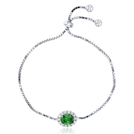 Sterling Silver Rhodium 9x7mm Emerald Oval Cut CZ & White Halo Adjustable Bracelet