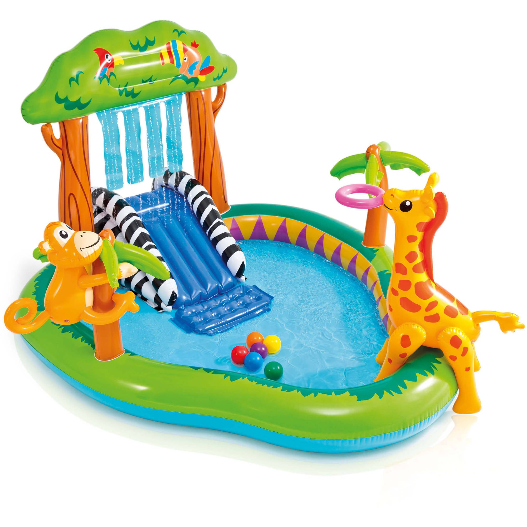 Intex Inflatable Jungle Play Center with Water Slide and Sprayer ...