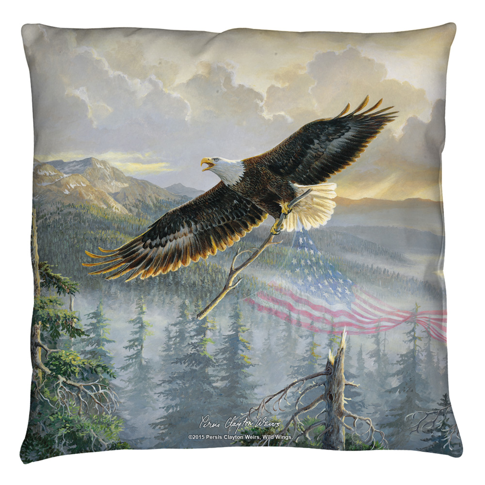 Wild Wings Rebuilding America 2 Throw Pillow White 18X18