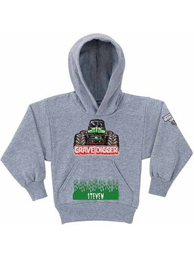 9a437a806c9 Product Image Personalized Monster Jam Grave Digger Boys  Grey Hoodie