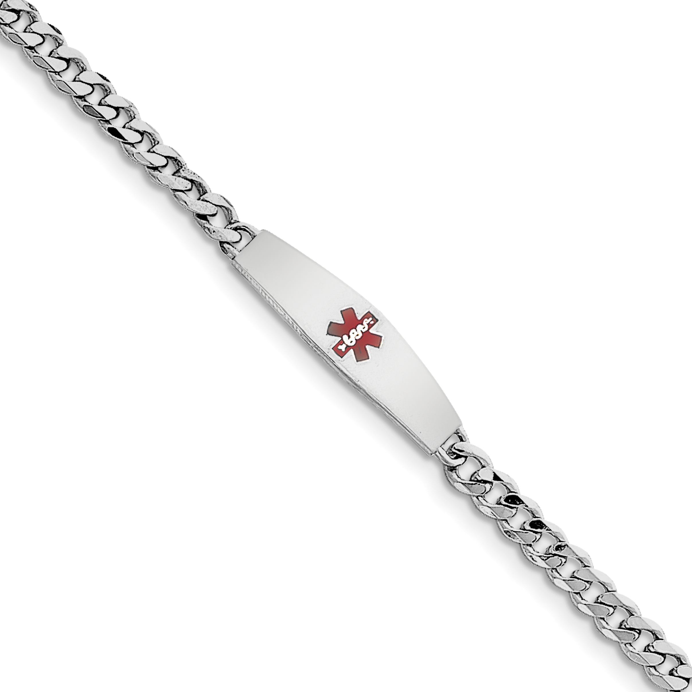 """Sterling Silver Rhodium-plated Medical ID Bracelet w/Curb Link 7 Inch """"Bracelets - image 2 of 2"""