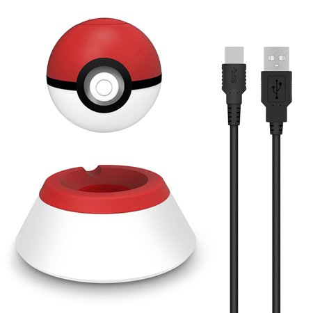 Charge Stand for Nintendo Switch Poke Ball, EEEKit 2 In 1 Charging Station Controller Holder Bracket with Type C Cable  For Poke Ball Plus Pokémon Let's Go Pikachu, Red & White - Pikachu With Glasses