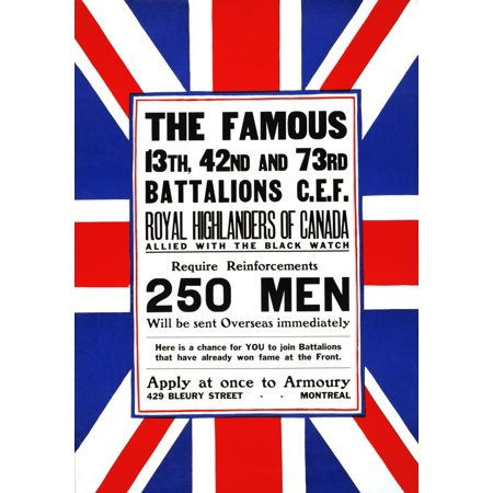 Poster shows recruiting announcement on a Union Jack The famous 13th 42nd and 73rd battalions CEF Royal Highlanders of Canada allied with the Black Watch Poster Print by Unknown