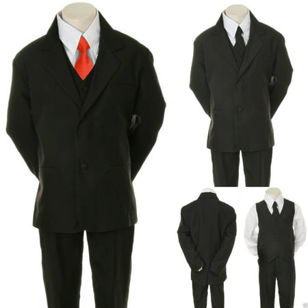 Infant Toddler Boys 6pc  Wedding Formal Tuxedo Suit Black extra Red Necktie S-20