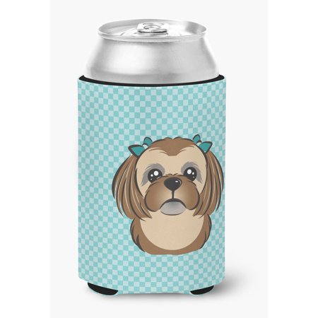Checkerboard Blue Chocolate Brown Shih Tzu Can or Bottle Hugger