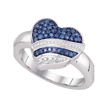 10kt White Gold Womens Round Blue Color Enhanced Diamond Striped Heart Ring 1/3 Cttw - image 1 de 1