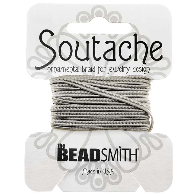 BeadSmith Soutache Braided Cord 3mm Wide - Silver Gray (3 Yard Card)