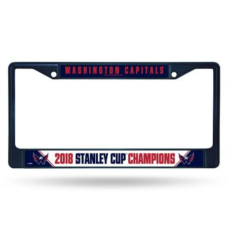 National Champions License Plate - Washington Capitals Official NHL 2018 National Champions License Plate Frame Chrome by Rico 390394