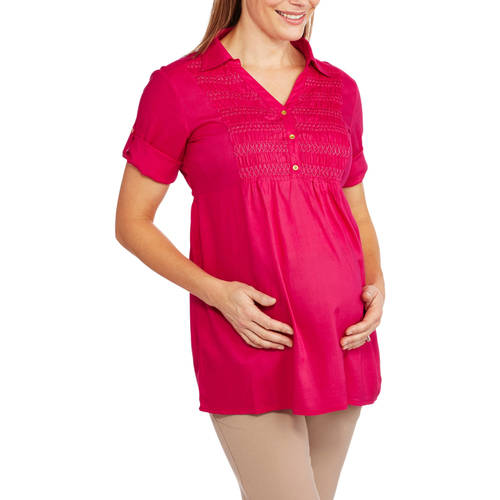 Oh! Mamma Maternity Short Sleeve Embellished Front Shirt