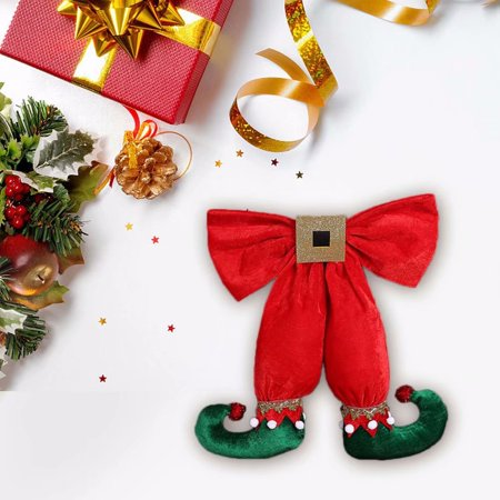 Christmas Tree Decorations Hanging Pendant Ornament Cute Elf Foot Shape Bowknot for Home Party Decor](Elf Door Decoration)