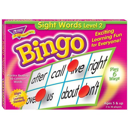 Sight Words Level 2 Bingo Game, Practice reading with 60 words fromWalmartmon vocabulary lists By Trend Enterprises Inc - Site Word Bingo