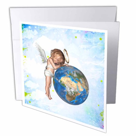 3dRose A cute guardian angel sleeping and protects the earth, Greeting Cards, 6 x 6 inches, set of 6