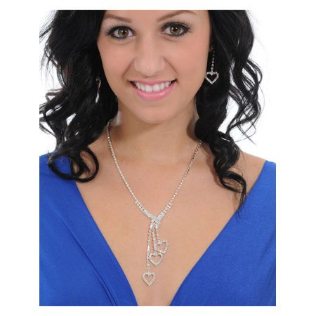 - Rhinestone Dangling HEART Necklace Matching Earring 3 Piece Set