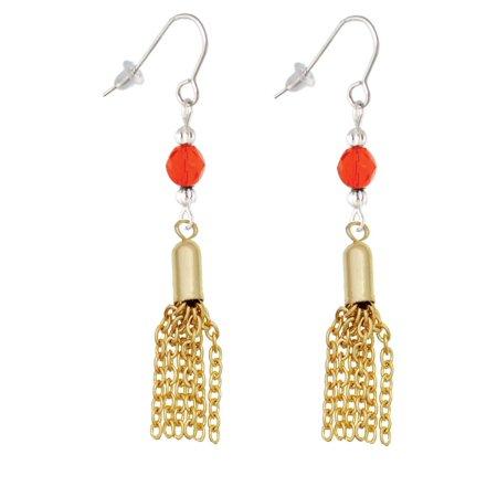 Small Gold Tone Tassel Orange Bead French Earrings (Gold Tassel Earrings)