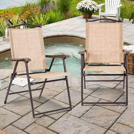 Gymax Set of 2 Folding Patio Furniture Sling Back Chairs Outdoors Yellow