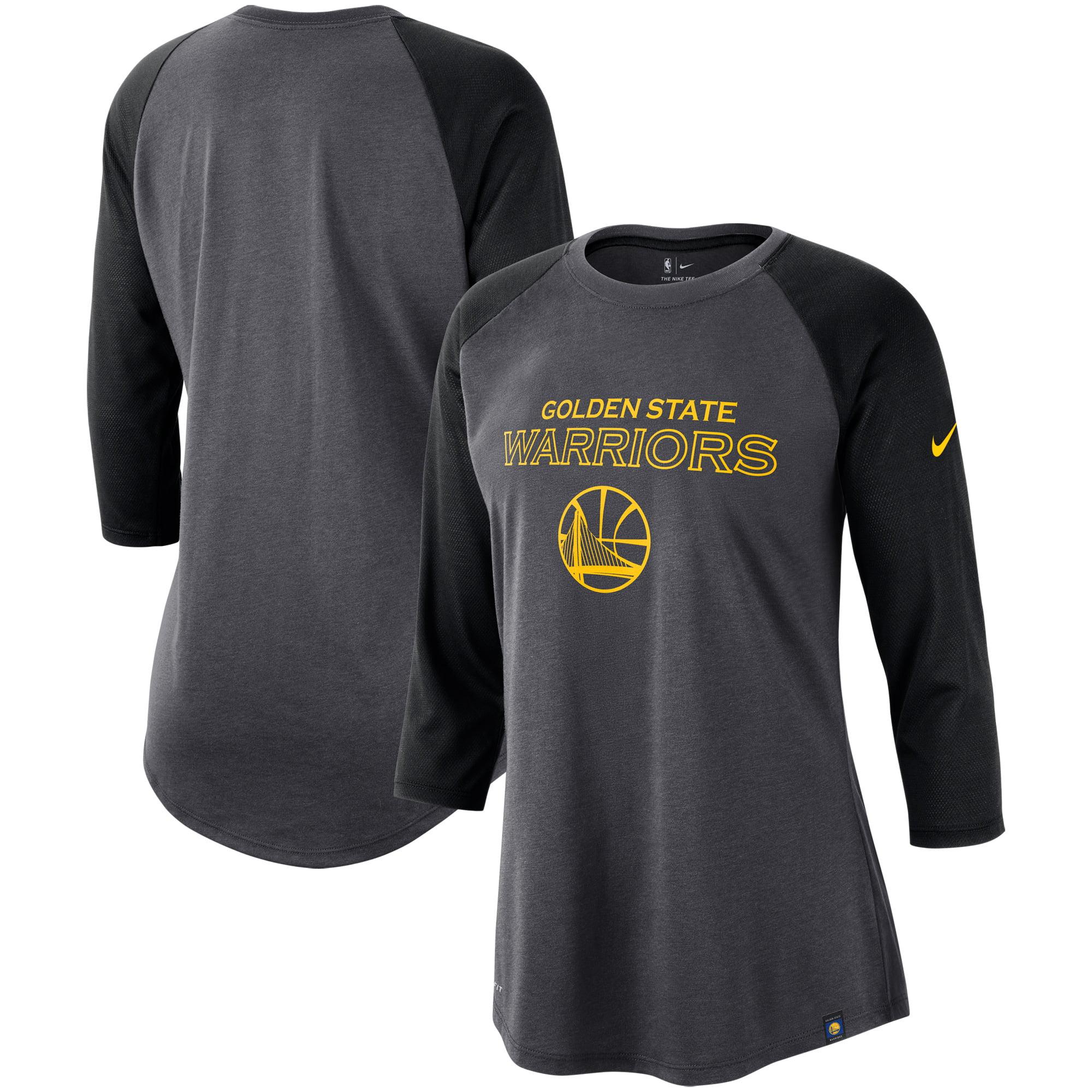 Golden State Warriors Nike Women's Wordmark Logo Performance 3/4-Sleeve Raglan T-Shirt - Charcoal/Black