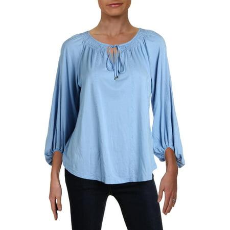 Lauren Ralph Lauren Womens Petites Jersey Embroidered Pullover Top Blue PS