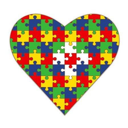 Autism Puzzle Pieces Heart - Vinyl Sticker Waterproof Decal Sticker 5