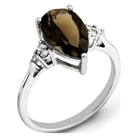 Sterling Silver Rhodium Diamond & Smoky Quartz Ring - image 2 of 2