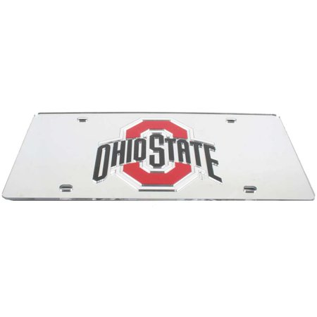 Mirrored Acrylic License Plate - Ohio State Buckeyes Inlaid Acrylic License Plate - Silver Mirror Background