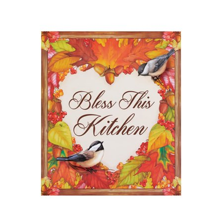 Fall Leaves Heart and Chickadees Dishwasher Magnet, 3D Art Autumn Decoration for Kitchens