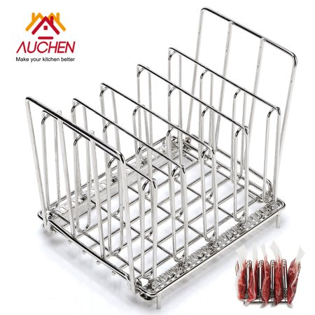 Steel Heavy Duty Square (AUCHEN Sous Vide Rack - Heavy Duty 304 Stainless Steel - Square 7.8 x 6.4 Inch - Adjustable and Collapsible - Fast Even Heating for Sous Vide Bags with Sous Vide Cooking - Fits Any Sous Vide Container )