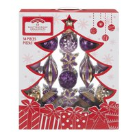 Holiday Time Shatterproof Ornaments, 54-Count, Purple Gold