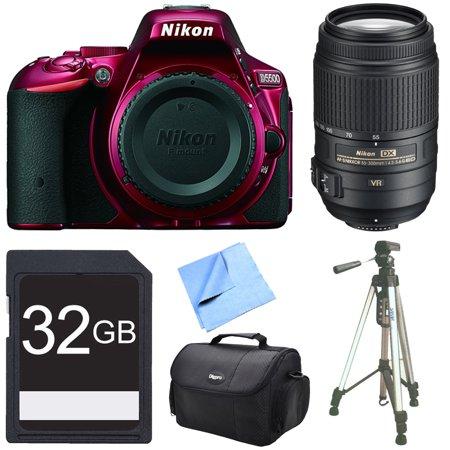 Nikon D5500 Red Digital SLR Camera, 55-300 Lens, and 32GB Bundle