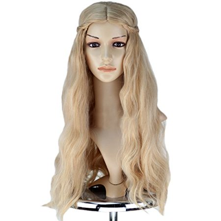 Wig Best for Cosplay Party Soft Breathable Adjustable Wavy Long Blonde 22
