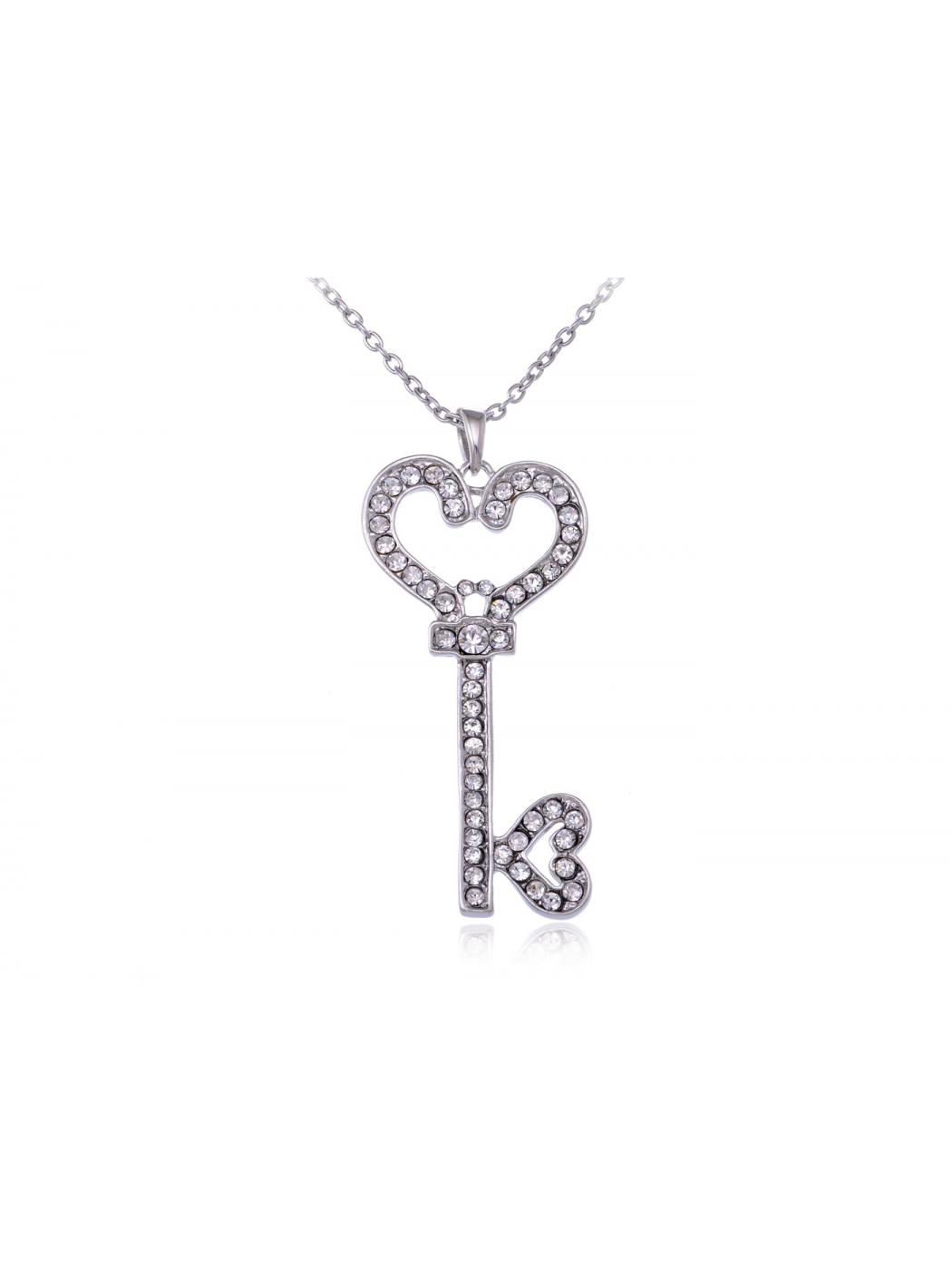 Key To My Heart Crystal Rhinestone Encrusted Secret Treasure Pendant Necklace