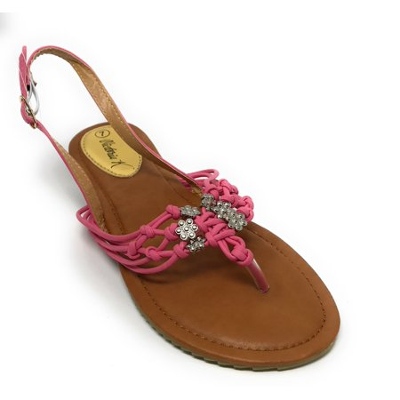 Victoria K Women's Knots With Flower Beads Sandals - Sandals Beaded