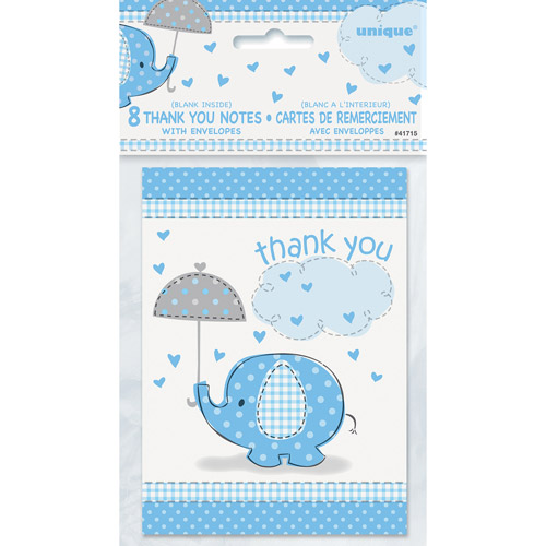 Blue Elephant Baby Shower Thank You Notes, 8pk