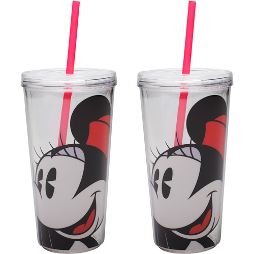 Zak! 2-Piece Minnie Mouse 16 oz Doublewall Tumbler with Lid and Straw