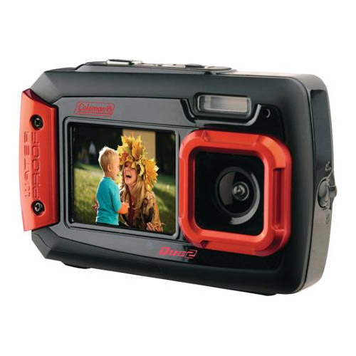 Coleman Duo2 2V9WP-R 20 MP Waterproof Digital Camera with Dual LCD Screen (Red)