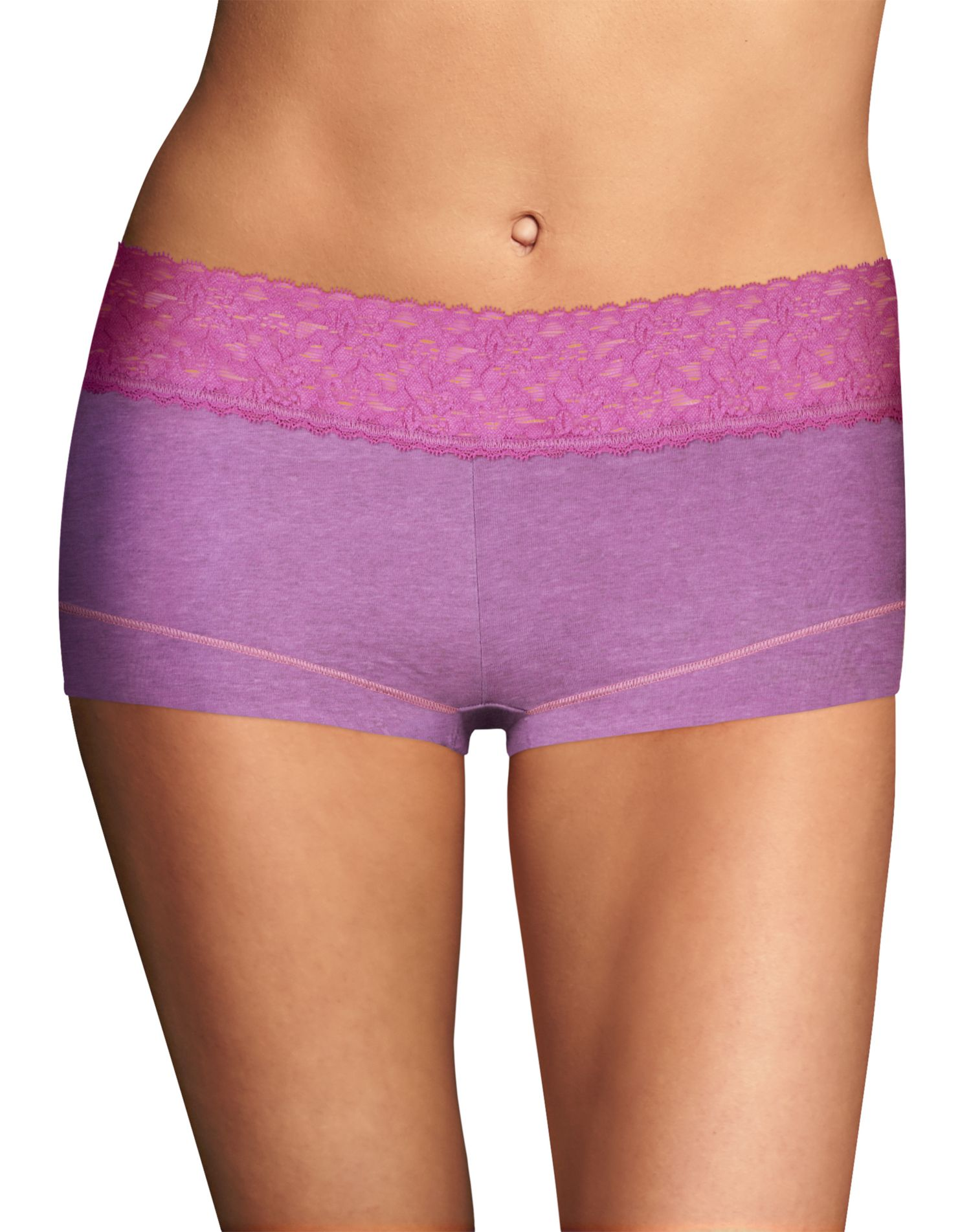 Maidenform Cotton Dream Womens Boyshort With Lace - Best-Seller, 6