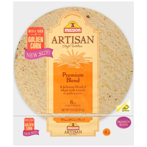 "Mission Artisan Style Wheat & Corn Blend 8"" Tortillas, 8 ct"