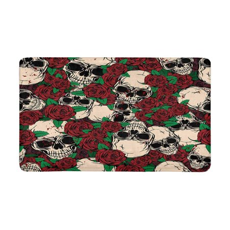 POP Abstract Grunge Color Skulls and Roses Indoor Entrance Rug Floor Mats Shoe Scraper Doormat 30x18 Inches - image 3 of 3