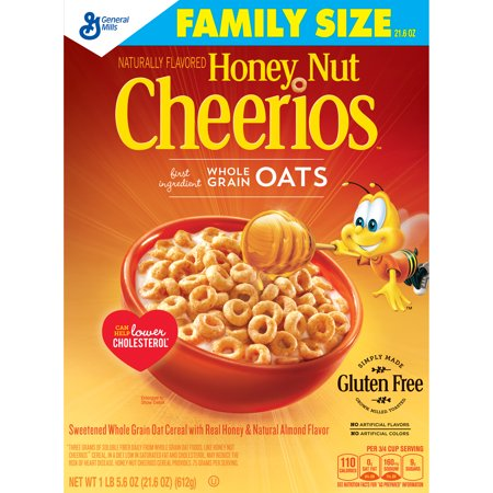 General Mills Honey Nut Cheerios Gluten Free Cereal Family Size 21.6 oz. box
