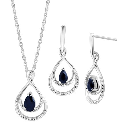1 1/10 ct Natural Kanchanaburi Sapphire Pendant & Earrings Set with Diamonds in Sterling Silver