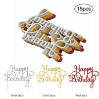 15pcs Glitter Paper Happy Birthday Cake Topper Cupcake Dessert Decoration Supplies for Birthday Party Celebration--Mix Colors
