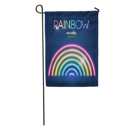 NUDECOR Glowing Neon Lights Brushes in Rainbow Colors on Dark Easy Garden Flag Decorative Flag House Banner 12x18 inch - image 1 de 2