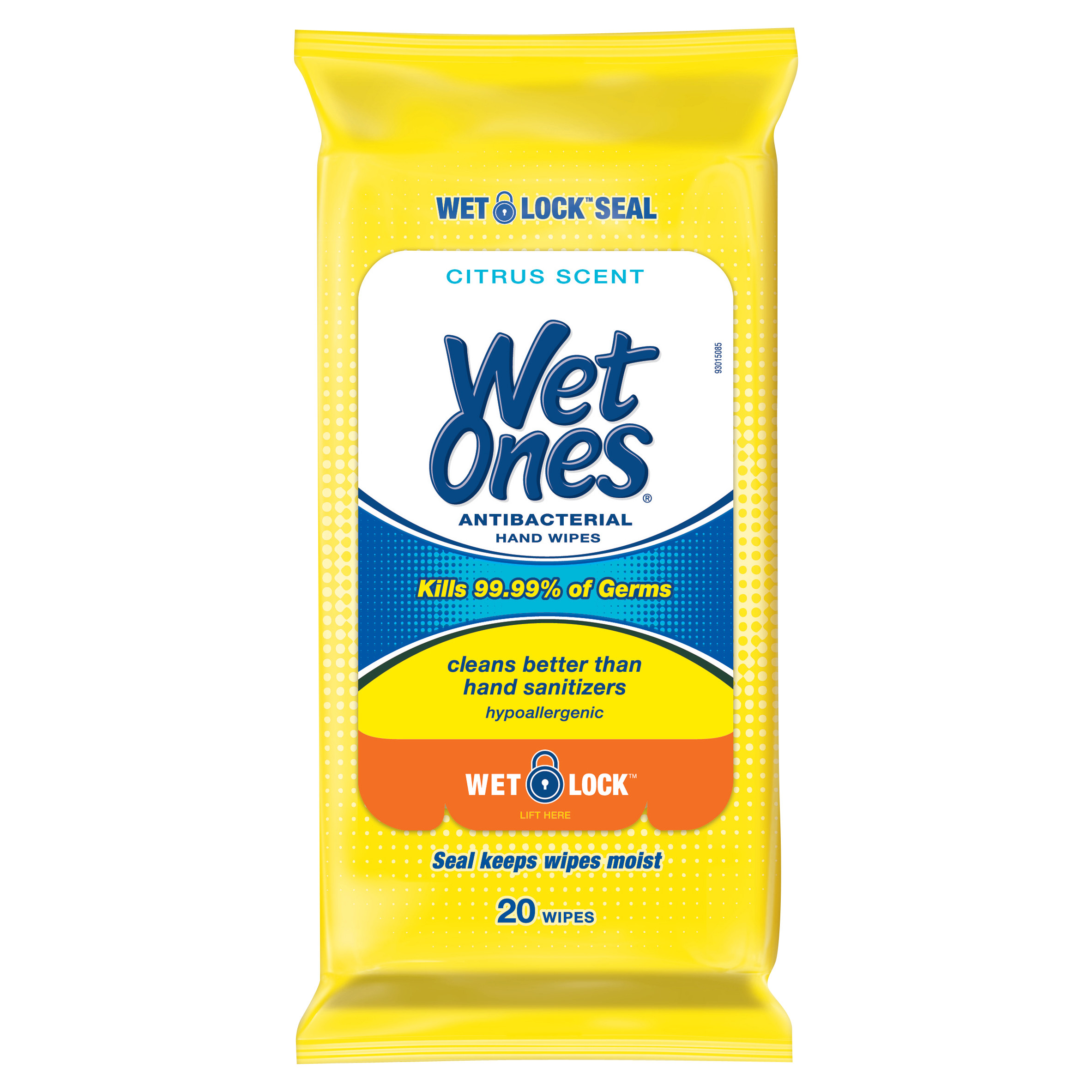 Wet Ones Antibacterial Hand Wipes Citrus Scent Travel Pack - 20 Count