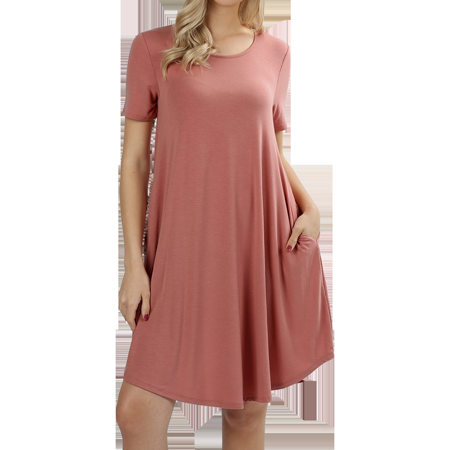 Women Short Sleeve Round Hem A-Line Tunic Dress with Side (Voile Tunic Dress)