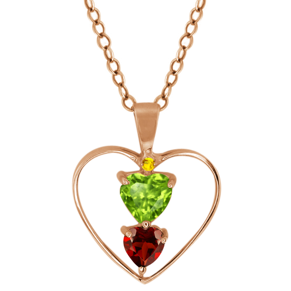 0.84 Ct Heart Shape Green Peridot Red Garnet Gold Plated Sterling Silver Pendant
