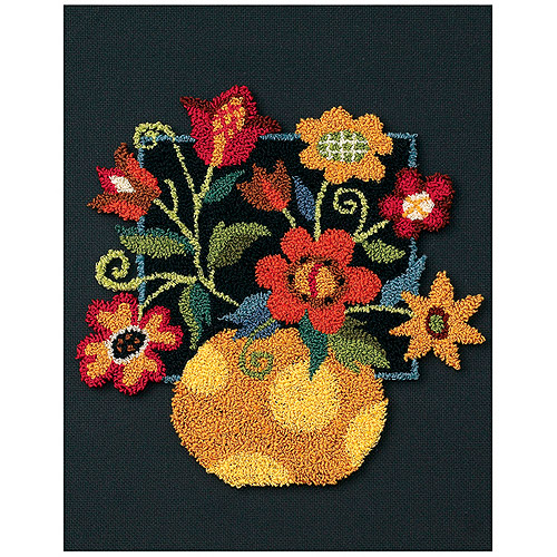 """Floral On Black Punch Needle Kit-8""""X10"""""""