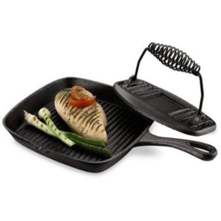 Cast Iron Grill Pan And Press Home Chef's Favorite Oven-safe up to 500 degrees, Cast Iron Grill Pan And Press Home Chef's Favorite Oven-safe up to 500.., By The CookwareWalmartpany Oven Safe Round Grill Pan