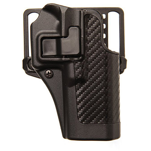 BlackHawk CQC SERPA Holster with Belt and Paddle Attachment fits Glock 20/21 and S&W MP.45, Right Hand, Carbon Fiber, Black